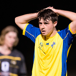BRISBANE, AUSTRALIA - AUGUST 26: Jake McLean of the Strikers looks on during the NPL Queensland Senior Men's Semi Final match between Brisbane Strikers and Moreton Bay Jets at Perry Park on August 26, 2017 in Brisbane, Australia. (Photo by Patrick Kearney)