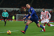 Zlatan Ibrahimovic of Manchester Utd in action. Premier league match, Stoke City v Manchester Utd at the Bet365 Stadium in Stoke on Trent, Staffs on Saturday 21st January 2017.<br /> pic by Andrew Orchard, Andrew Orchard sports photography.
