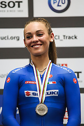 March 1, 2019 - Pruszkow, Poland - Letizia Paternoster of Italy, Silver medal winner poses on the podium for the Women's Omnium final on day three of the UCI Track Cycling World Championships held in the BGZ BNP Paribas Velodrome Arena on March 01, 2019 in Pruszkow, Poland. (Credit Image: © Foto Olimpik/NurPhoto via ZUMA Press)