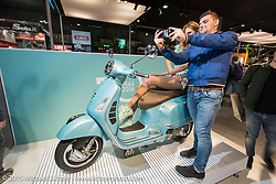 EICMA, the largest international motorcycle exhibition in the world. Milan, Italy. November 20, 2015.  Photography ©2015 Michael Lichter.