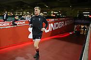 Gareth Anscombe of Wales arrives for the Wales rugby team captains run at the Principality Stadium  in Cardiff , South Wales on Friday 2nd February 2018.  the team are preparing for their opening Natwest 6 Nations 2018 championship match against Scotland tomorrow.   pic by Andrew Orchard