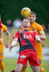 Annan Athletic's Tony Wallace and Livingston Declan Gallagher. half time : Livingston 1 v 0 Annan Athletic, Scottish League Cup Group F, played 21/7/2018 at Prestonfield, Linlithgow.