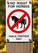 Macro close up No Right For Horses Public Footpath Only sign on fencepost, Sutton, Suffolk, England, UK