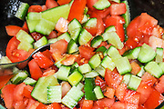 Fresh Vegetable salad with tomatoes and cucumbers