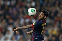 30.01.2013 SPAIN -  Copa del Rey 12/13 Matchday 1/4  match played between Real Madrid CF vs  F.C. Barcelona (1-1) at Santiago Bernabeu stadium. The picture show Dani Alves da Silva (Brazilian defender of Barcelona)