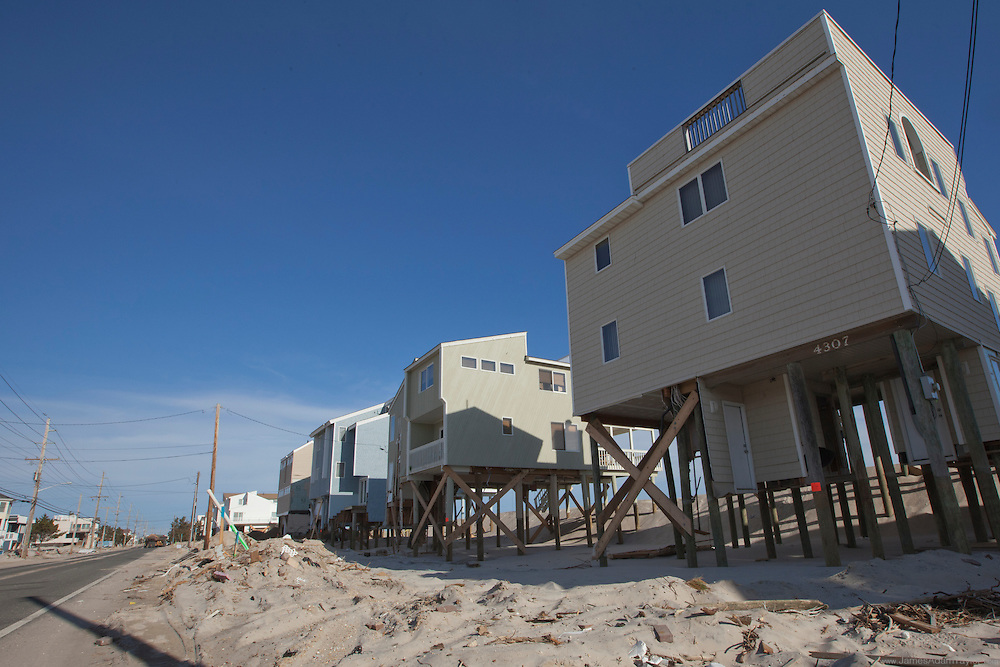 At the southern end of Long Beach Island the dunes were washed right out from under these stilted homes.
