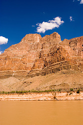 Scenic of Colorado River at the bottom of Grand Canyon, Arizona, AZ, cliffs, landscape, vertical, erosion, Image nv448-1.Photo copyright: Lee Foster, www.fostertravel.com, lee@fostertravel.com, 510-549-2202