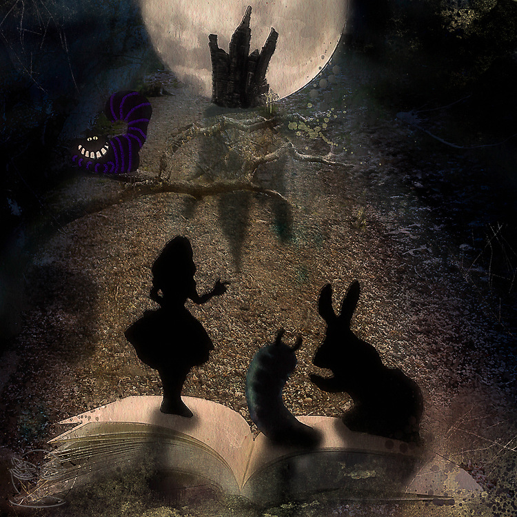 Alice comes right of the pages of the book as she views the magical kingdom ahead of her.