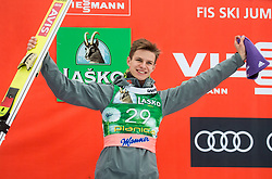 Andreas Wellinger (GER) celebrates at trophy ceremony after 2nd place during Ski Flying Hill Men's Individual Competition at Day 4 of FIS Ski Jumping World Cup Final 2017, on March 26, 2017 in Planica, Slovenia. Photo by Vid Ponikvar / Sportida