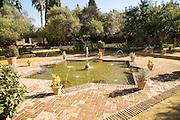 Pool and water fountains gardens in the Alcazar, Jerez de la Frontera, Spain
