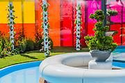 Journey of Life Garden by Edward Mairis -  Preparations for the Hampton Court Flower Show, organised by teh Royal Horticultural Society (RHS). In the grounds of the Hampton Court Palace, London  02 July 2017