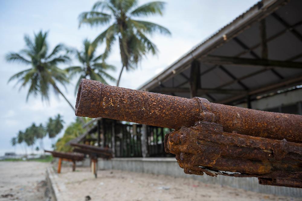 Rusting Japanese WWII coastal guns in Wewak, Papua New Guinea