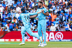 Liam Plunkett of England  celebrates taking the wicket of Rishabh Pant of India - Mandatory by-line: Robbie Stephenson/JMP - 30/06/2019 - CRICKET - Edgbaston - Birmingham, England - England v India - ICC Cricket World Cup 2019 - Group Stage
