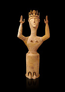 Minoan Postpalatial terracotta  goddess statue with raised arms and crown,  Karphi Sanctuary 1200-1100 BC, Heraklion Archaeological Museum, black background. <br /> <br /> The Goddesses are crowned with symbols of earth and sky in the shapes of snakes and birds, describing attributes of the goddess as protector of nature. .<br /> <br /> If you prefer to buy from our ALAMY PHOTO LIBRARY  Collection visit : https://www.alamy.com/portfolio/paul-williams-funkystock/minoan-art-artefacts.html . Type -   Heraklion   - into the LOWER SEARCH WITHIN GALLERY box. Refine search by adding background colour, place, museum etc<br /> <br /> Visit our MINOAN ART PHOTO COLLECTIONS for more photos to download  as wall art prints https://funkystock.photoshelter.com/gallery-collection/Ancient-Minoans-Art-Artefacts-Antiquities-Historic-Places-Pictures-Images-of/C0000ricT2SU_M9w