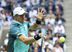 NEW YORK, Sept. 11, 2017  Kevin Anderson of South Africa hits a return during the Men's singles final match against Rafael Nadal of Spain at the 2017 US Open in New York, the United States, Sept. 10, 2017. Rafael Nadal won 3-0 to claim the title. (Credit Image: © Wang Ying/Xinhua via ZUMA Wire)