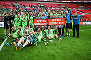 The FGR team celebrate during the Vanarama National League Play Off Final match between Tranmere Rovers and Forest Green Rovers at Wembley Stadium, London, England on 14 May 2017. Photo by Shane Healey.