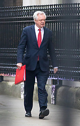 © Licensed to London News Pictures. 09/01/2018. London, UK. Secretary of State for Exiting the European Union David Davis leaving Downing Street after attending a Cabinet meeting this morning. Yesterday British Prime Minister Theresa May reshuffled her cabinet, appointing some new ministers. Photo credit : Tom Nicholson/LNP
