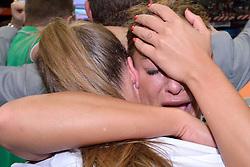 11-04-2015 NED: PKC SWKgroep - TOP Quoratio, Rotterdam<br /> Korfbal Leaguefinale in een volgepakt Ahoy wordt gewonnen door PKC met 22-21 /  PKC viert feest met Mady Tims