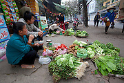 Rice farmer Nguyen Van Theo's wife Vie Thi Phat, 53, sells vegetables at a wholesale market in Hanoi, Vietnam. (From the book What I Eat: Around the World in 80 Diets.) MODEL RELEASED.