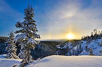 The winter sun sets over McIntyre Creek, Yukon