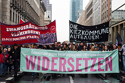 April 14, 2018 - Berlin, Germany - ''Together against repression and #Mietwahnsinn resist'' is on the front banner during the demonstration under the motto ''resist rental madness''. More than 13,000 people demonstrated against ''repression and rent madness'' in the capital. (Credit Image: © Markus Heine/SOPA Images via ZUMA Wire)