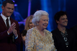 Queen Elizabeth II on stage at the Royal Albert Hall in London during a star-studded concert to celebrate her 92nd birthday.