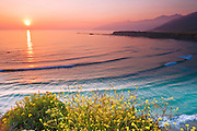 Sunset over the Pacific Ocean at Sand Dollar Beach, Los Padres National Forest, Big Sur, California USA