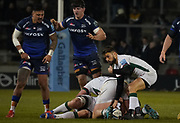 London Irish scrum-half Ben Meehan signals to team-mates during a Gallagher Premiership Rugby Union match, won by Sharks 39-0, Friday, Mar. 6, 2020, in Eccles, United Kingdom. (Steve Flynn/Image of Sport)