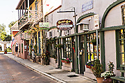 Aviles Street in the historic district in St. Augustine, Florida. St Augustine is the oldest city in America.