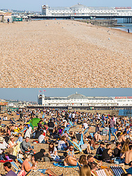 © Licensed to London News Pictures. 10/04/2020. Brighton, UK. Comparison showing an empty Brighton seafront on Good Friday today (TOP) and the same scene on Good Friday 2019 (BOTTOM). Photo credit: Hugo Michiels/LNP