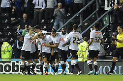Johnny Russell of Derby County celebrates with his team mates after scoring - Mandatory byline: Dougie Allward/JMP - 07966386802 - 18/08/2015 - FOOTBALL - iPro Stadium -Derby,England - Derby County v Middlesbrough - Sky Bet Championship