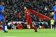 Mohamed Salah of Liverpool celebrates after scoring his teams 1st goal to make it 1-1. Premier League match, Liverpool v Leicester City at the Anfield stadium in Liverpool, Merseyside on Saturday 30th December 2017.<br /> pic by Chris Stading, Andrew Orchard sports photography.