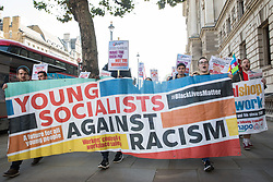 Young Socialists take part in a London March for Jobs from the Department for Business, Energy and Industrial Strategy (BEIS) to Downing Street on 9th October 2021 in London, United Kingdom. The march was organised by London Young Socialists and Youth Fight for Jobs, a youth organisation formed in 2009 in response to a rise in youth employment following the 2007-2008 financial crash, to call for decent jobs for young people, a £15ph minimum wage and an end to zero-hour contracts.