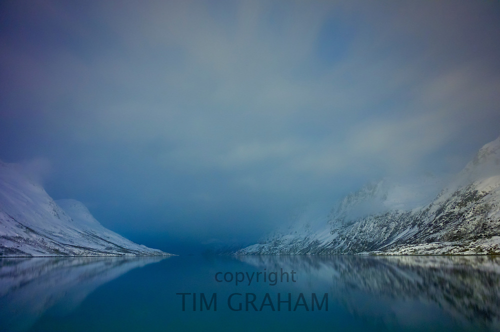 Arctic sky and landscape at Ersfjordbotn on Klavoya Island near Tromso in Norway<br /> FINE ART PHOTOGRAPHY by Tim Graham