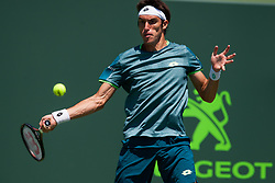 March 22, 2018 - Key Biscayne, FL, U.S. - KEY BISCAYNE, FL - MARCH 22: Leonardo Mayer (ARG) in action on Day 4 of the Miami Open on March 22, 2018, at Crandon Park Tennis Center in Key Biscayne, FL. (Photo by Aaron Gilbert/Icon Sportswire) (Credit Image: © Aaron Gilbert/Icon SMI via ZUMA Press)