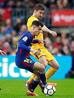 FC Barcelona's Philippe Coutinho (l) and Atletico de Madrid's Gabi Fernandez during La Liga match. March 4,2018. (ALTERPHOTOS/Acero)