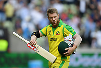 Cricket - 2019 ICC Cricket World Cup - Semi-Final: England vs. Australia<br /> <br /> Australia's David Warner dejected as he is caught by England's Jonny Bairstow off the bowling of England's Chris Woakes for 9, at Edgbaston, Birmingham.<br /> <br /> COLORSPORT/ASHLEY WESTERN