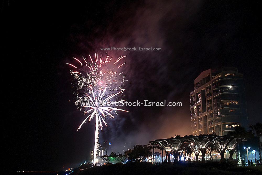 Fireworks display photographed in Natanya, Israel