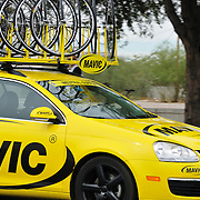Mavic neutral support car nears  El Tour de Tucson 2012's final corner at 22nd Street and 6th Avenue. Bike-tography by Martha Retallick.