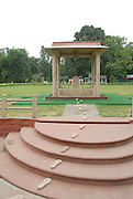 India, Delhi, Mahatma Gandhi Memorial at the site of his assassination in 1948. The footsteps marking his last walk