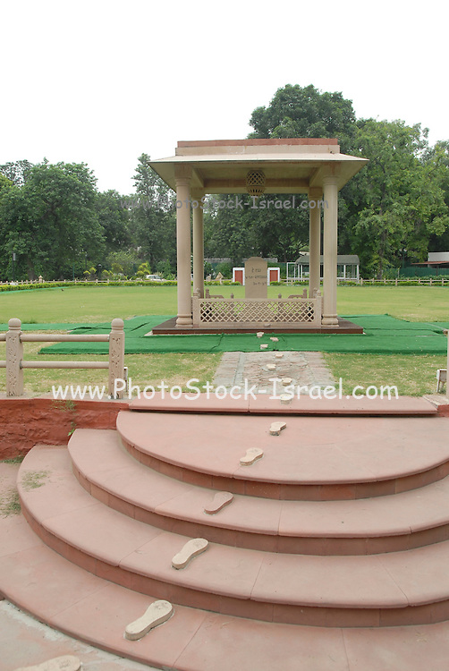 India, Delhi, Mahatma Gandhi Memorial at the site of his assassination in 1948. The footsteps marking his last walk