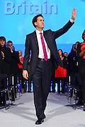© Licensed to London News Pictures. 02/10/2012. Manchester, UK Ed Miliband, Labour Party leader, arrives onstage to make his leaders speech on Day 3 at The Labour Party Conference at Manchester Central today 2nd october 2012. Photo credit : Stephen Simpson/LNP