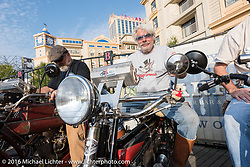 Frank Westfall of New York on his 1912 Henderson next to John Pfeiefer of Texas on his 1916 Harley-Davidson on the Atlantic City boardwalk at the start of the Motorcycle Cannonball Race of the Century. Stage-1 from Atlantic City, NJ to York, PA. USA. Saturday September 10, 2016. Photography ©2016 Michael Lichter.