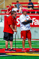 17 August 2019:  Brock Spack on right during the annual Red-White scrimmage of the Illinois State Redbirds at Hancock Stadium in Normal IL