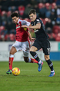 Sam Gallagher (Blackburn Rovers) and Tom Adeyemi (Rotherham United) during the EFL Sky Bet Championship match between Rotherham United and Blackburn Rovers at the AESSEAL New York Stadium, Rotherham, England on 11 February 2017. Photo by Mark P Doherty.