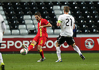 Pictured L-R: Samuel Ricketts of Wales against Marc Janko of Austria. Wednesday 06 February 2013..Re: Vauxhall International Friendly, Wales v Austria at the Liberty Stadium, Swansea, south Wales.