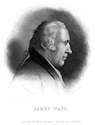 James Watt (1736-1819) Scottish engineer. Engraving after picture of 1803 by John Henning. Profile.