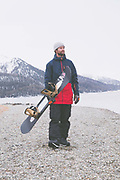 British Freestyle Snowboarder Billy Morgan on 07th May 2017 in Silvaplana, Switzerland. Silvaplana is a municipality in the Maloja Region in the Swiss canton of Graubünden and the name of a lake in the municipality. Its popular alpine sports destination.