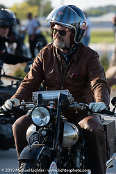 The Vintangent's Paul D'Orleans riding one of Bryan Bossier's 1925 Brough Superior SS100's during the Motorcycle Cannonball coast to coast vintage run. Stage 7 (274 miles) from Cedar Rapids to Spirit Lake, IA. Friday September 14, 2018. Photography ©2018 Michael Lichter.