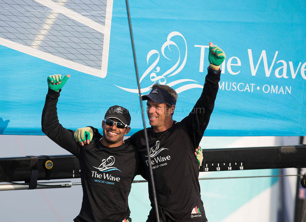 The Extreme Sailing Series 2013. Act 1..The Wave Muscat celebrate after winning the first act.Please credit: Lloyd Images